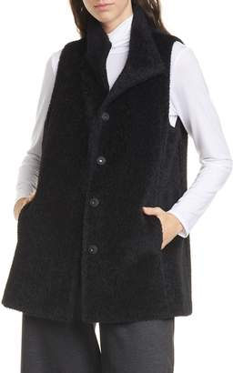 Eileen Fisher Wool Blend Stand Collar Vest