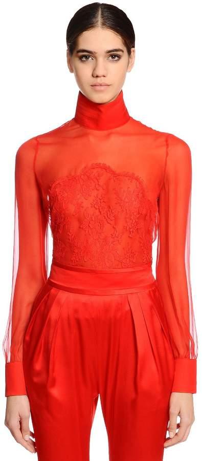 Givenchy Sheer Silk Chiffon & Lace Blouse