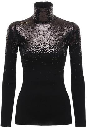 Valentino Knit Wool Turtleneck Sweater W/sequins