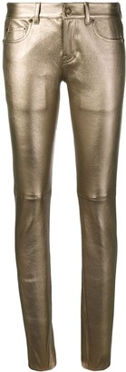 Saint Laurent metallic skinny jeans