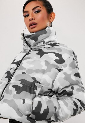 Missguided Gray Reversible Camo Puffer Jacket
