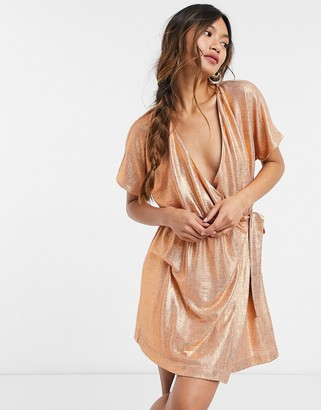ELVI metallic mini wrap dress in bronze