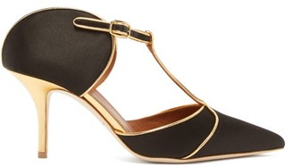 Malone Souliers Imogen Silk-satin Mules - Womens - Black Gold