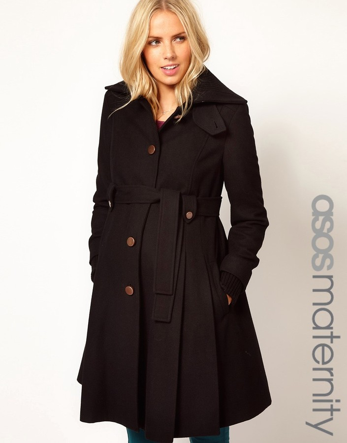 Asos Fit And Flare Coat With Rib Foldover Collar