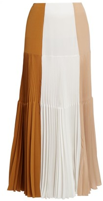 Givenchy Colorblock Pleated Maxi Skirt