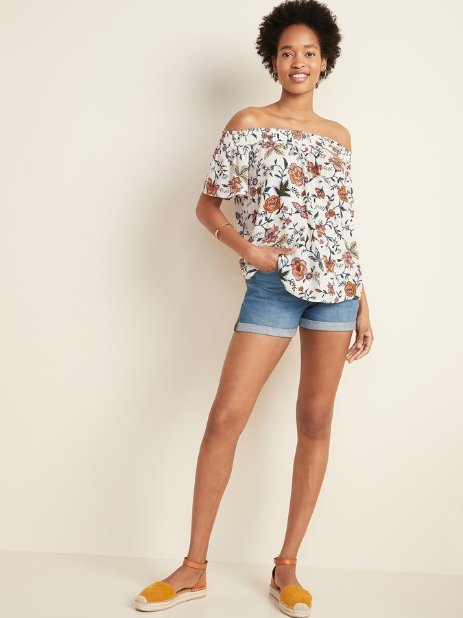 Thumbnail for your product : Old Navy Floral-Print Crinkle-Crepe Off-the-Shoulder Top for Women