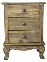 Bungalow Rose Stevensville 3 Drawer Nightstand Color: Rustic Wood