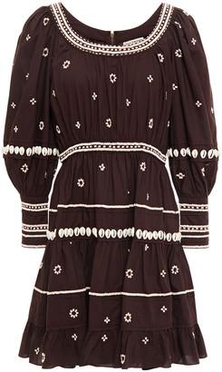 Ulla Johnson Bead-embellished Cotton-poplin Mini Dress