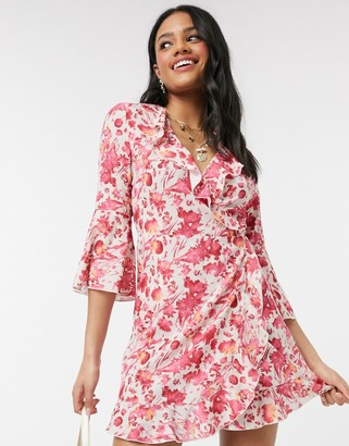 Outrageous Fortune ruffle wrap dress with fluted sleeve in pink floral print