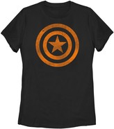 Marvel Juniors' Captain America Shield Logo Orange Halloween Tee