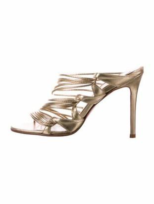 Christian Louboutin Metallic Slide Sandals Gold