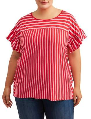 Terra & Sky Women's Plus Size Striped Scoopneck Ruffle Sleeve Tee