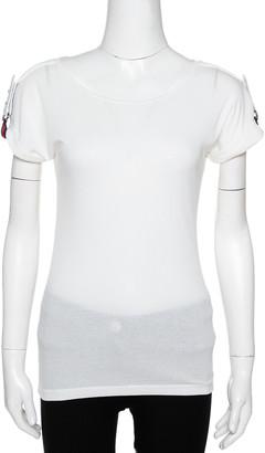 Gucci Off White Knit Webstripe Shoulder Buckle Detail Top S