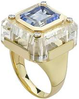 Kara Ross Medium Cava Ring with Quartz Base, Blue Topaz Inset and 4 Diamond Accents set in 18k Gold