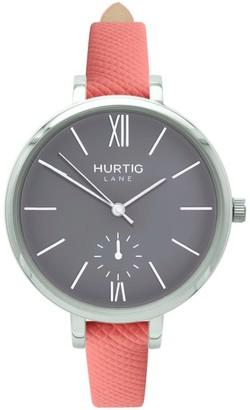Hurtig Lane Amalfi Petite Vegan Leather Watch Silver, Grey & Coral
