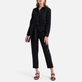 Vila Cotton Belted Jumpsuit with Shirt Collar