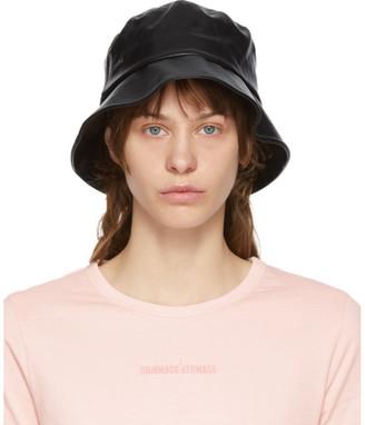 Juun.J Black Faux-Leather Bucket Hat