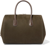 Nina Ricci Leather-trimmed suede tote