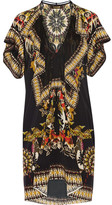 Roberto Cavalli Printed Silk Crepe De Chine Mini Dress - Black