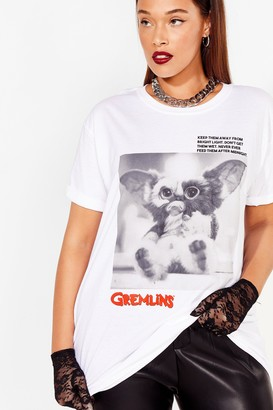Nasty Gal Womens Plus Size Gremlins Graphic Tee - White - 22