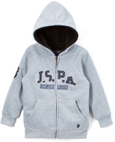 U.S. Polo Assn. Light Heather Gray 'USPA' Sherpa-Lined Zip-Up Fleece Hoodie - Boys