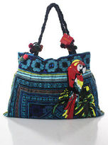 Joelle Gagnard Blue Canvas Embroidered Pom Pom Sequin Parakeet Tote Handbag New $180