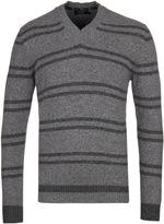 Hackett Grey Marl Striped V-neck Sweater
