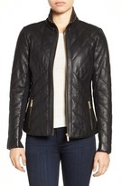 Badgley Mischka Women's 'Eloise' Quilted Leather Moto Jacket
