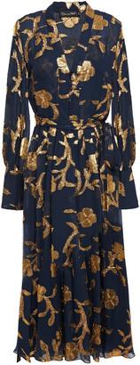 Oscar de la Renta Metallic Fil Coupe Silk-blend Chiffon Midi Dress