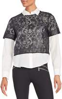 Elizabeth and James Women's Carnie Layered Lace & Solid Shirt - Black, Size xs [x-small]