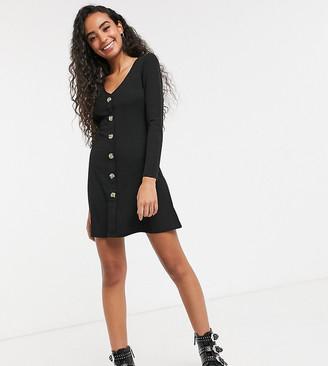 Brave Soul Petite skyla rib dress with button front
