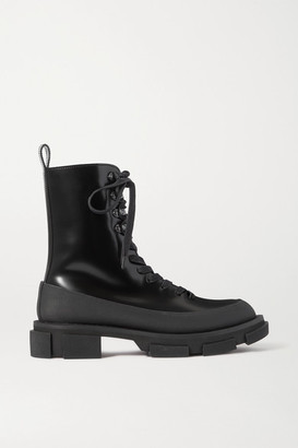 both Gao Rubber-trimmed Glossed-leather Platform Boots - Black