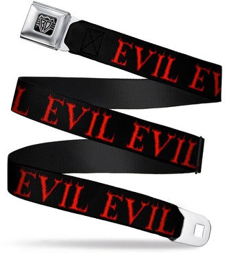"""Buckle Down Buckle-Down Seatbelt Belt - Flaming EVIL Black/Red - 1.5"""" Wide - 24-38 Inches in Length"""