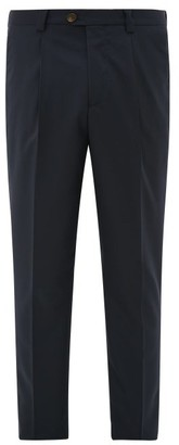 Brunello Cucinelli Single-pleated Wool Leisure-fit Trousers - Mens - Navy