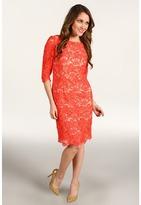 Eliza J - Three Quarter Sleeve Lace Sheath Dress (Coral) - Apparel