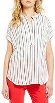 Gibson & Latimer Striped V-Neck Short Sleeve Blouse