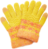 Mustard Geometric Touch Screen-Enabled Gloves