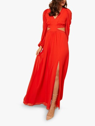 Little Mistress by Vogue Williams Side Split Maxi Dress, Red