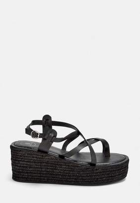Missguided Black Toe Post Jute Platform Sandals