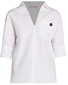 Marni Women's Collared Poplin V-Neck Polo Shirt