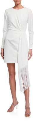 ONE33 SOCIAL Long-Sleeve Matte Jersey Dress w/ Fringe Side-Drape Detail