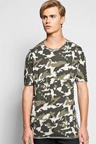 Boohoo Oversized Longline Camo T Shirt With Raw Edge
