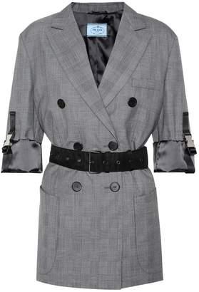 Prada Belted checked wool blazer