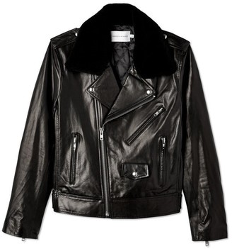 Rebecca Minkoff Leather Andrea Jacket Faux Fur Collar