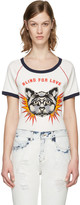 Gucci White Embroidered Raglan Sleeve T-shirt
