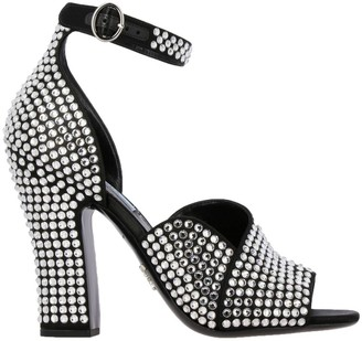 Prada Open Toe Sandals With All-over Crystals