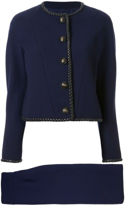 Chanel Pre Owned Braided Trim Skirt Suit
