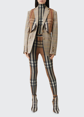 Burberry Tailored Plaid Wool Two-Button Blazer