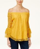 BCX Juniors' Ruffled Lace Off-The-Shoulder Top