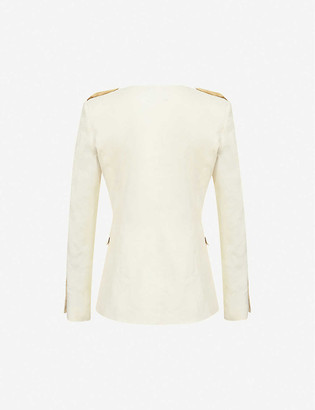 Pinko Etabeta collarless linen-blend jacket
